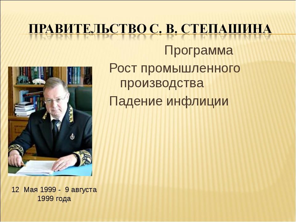Программа Рост промышленного производства Падение инфлиции 12 Мая 1999 - 9 ав...