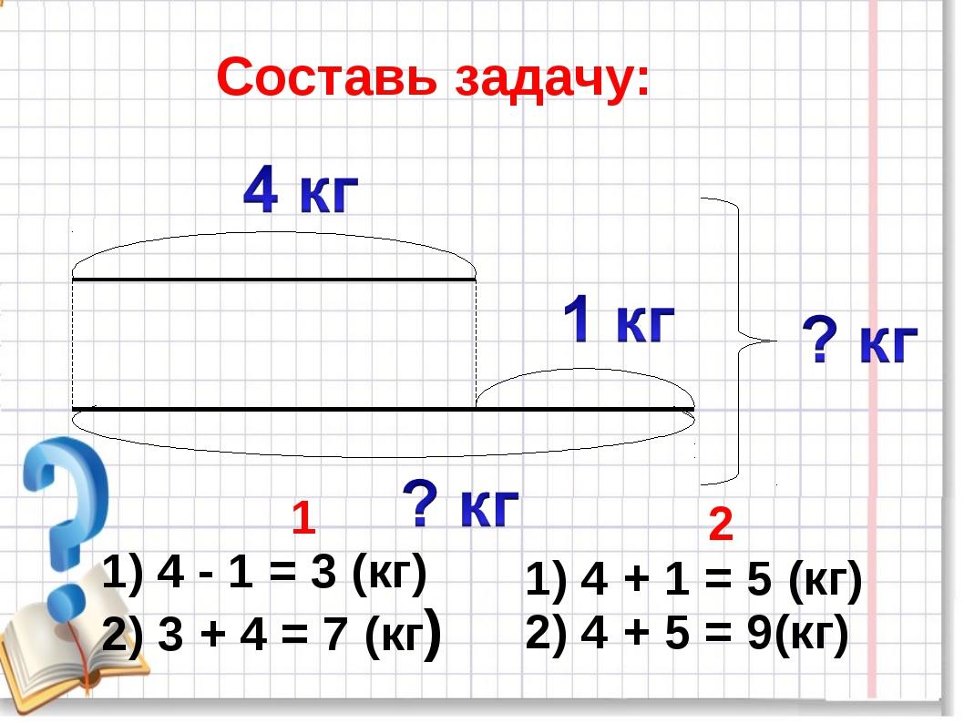 Составь задачу: 1 1) 4 - 1 = 3 (кг) 2) 3 + 4 = 7 (кг) 2 1) 4 + 1 = 5 (кг) 2)...
