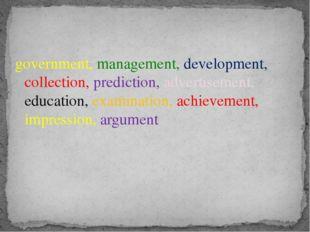 government, management, development, collection, prediction, advertisement, e