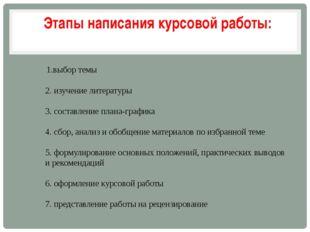 1.выбор темы 2. изучение литературы 3. составление плана-графика 4. сбор, ан