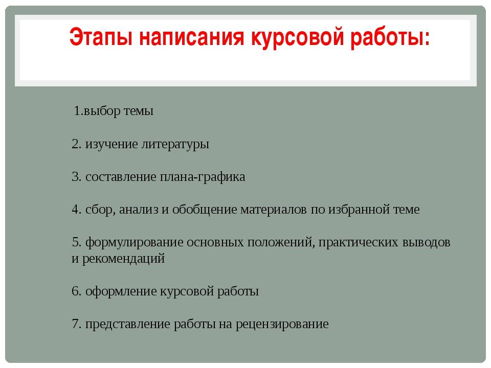 1.выбор темы 2. изучение литературы 3. составление плана-графика 4. сбор, ан...