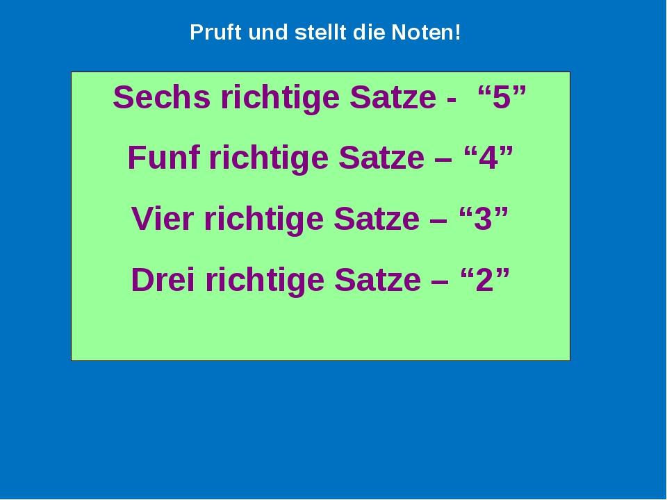 """Sechs richtige Satze - """"5"""" Funf richtige Satze – """"4"""" Vier richtige Satze – """"3..."""