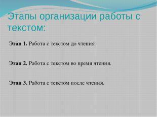 Этапы организации работы с текстом: Этап 1. Работа с текстом до чтения. Этап