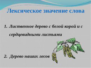Лексическое значение слова Лиственное дерево с белой корой и с сердцевидными