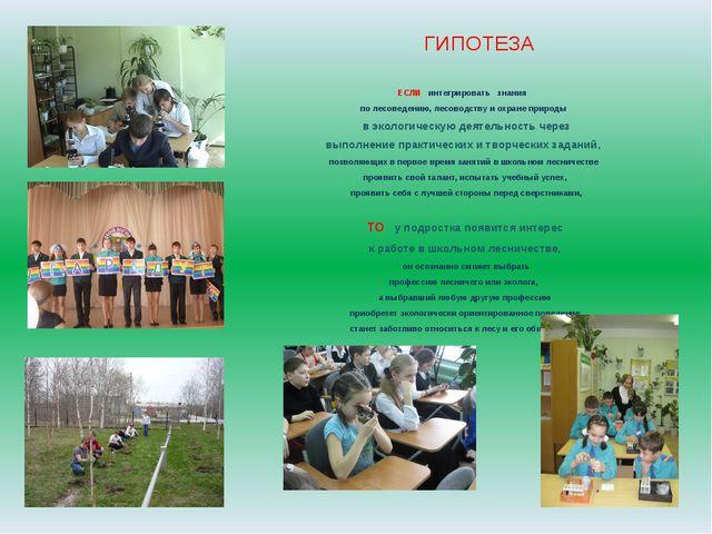 ГИПОТЕЗА ЕСЛИ интегрировать знания по лесоведению, лесоводству и охране приро...