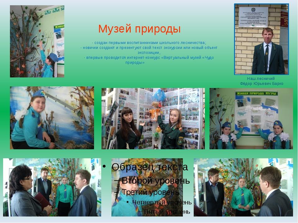 Музей природы - создан первыми воспитанниками школьного лесничества; - новичк...