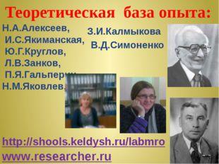 Теоретическая база опыта: Н.А.Алексеев, И.С.Якиманская, Ю.Г.Круглов, Л.В.Зан
