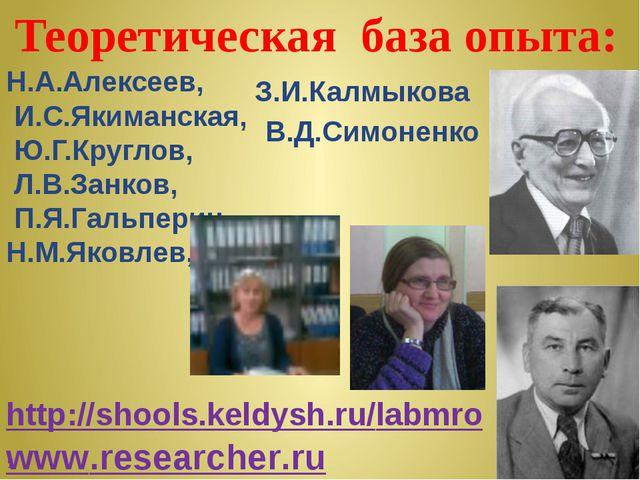 Теоретическая база опыта: Н.А.Алексеев, И.С.Якиманская, Ю.Г.Круглов, Л.В.Зан...