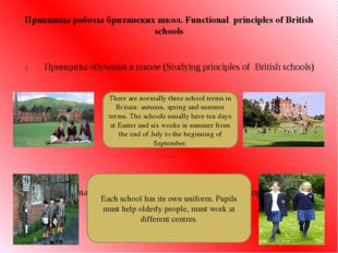 Принципы работы британских школ. Functional principles of British schools При
