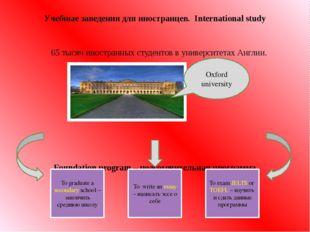 65 тысяч иностранных студентов в университетах Англии. Foundation program –