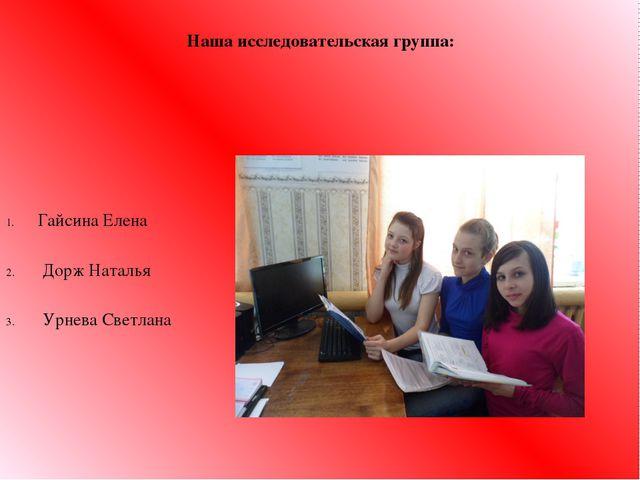 Наша исследовательская группа: Гайсина Елена Дорж Наталья Урнева Светлана