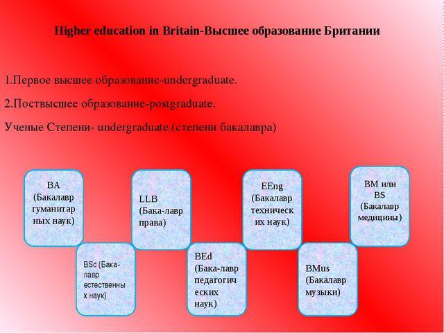 Higher education in Britain-Высшее образование Британии 1.Первое высшее образ...