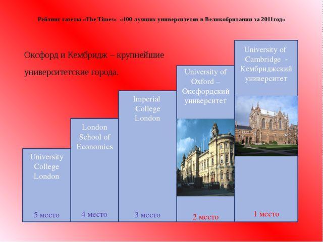 Оксфорд и Кембридж – крупнейшие университетские города. Рейтинг газеты «The...