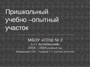 МБОУ «СОШ № 2 п.г.т. Актюбинский» 2015 – 2016 учебный год. Заведующая УОУ : А