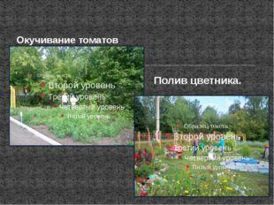 Окучивание томатов Полив цветника.
