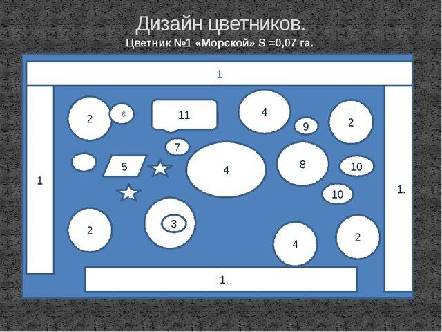 Дизайн цветников. Цветник №1 «Морской» S =0,07 га. 1 11. 1 2 2 2 2 11. 4 4 4...