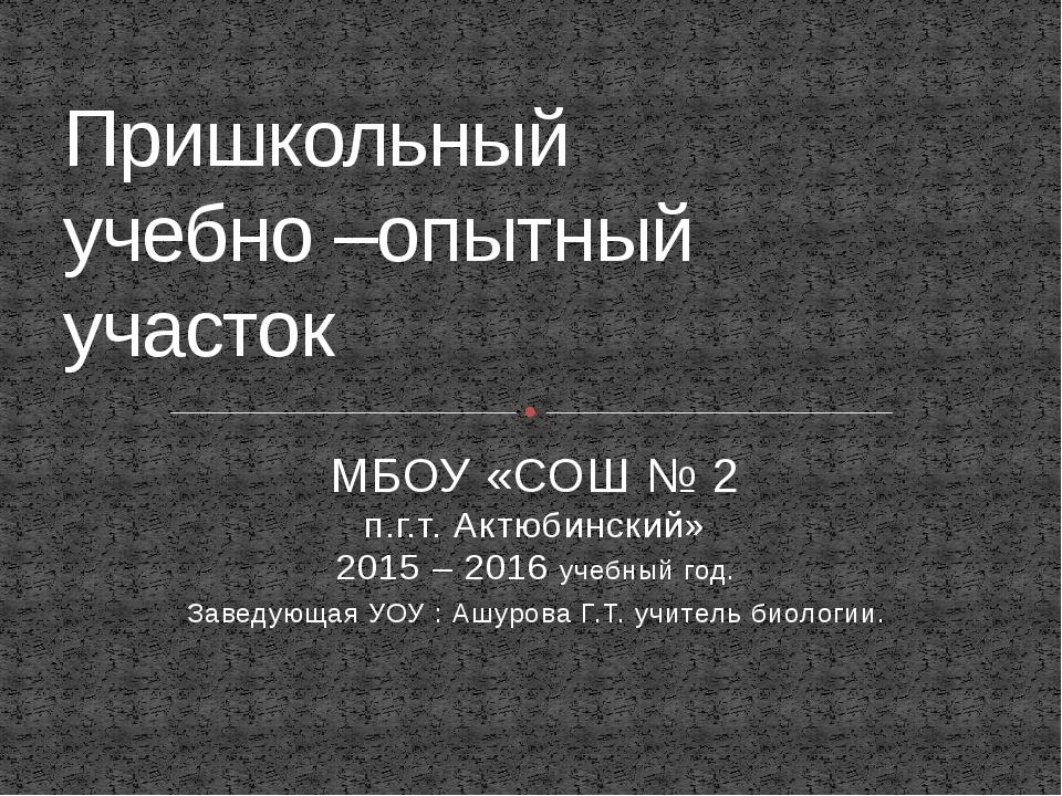 МБОУ «СОШ № 2 п.г.т. Актюбинский» 2015 – 2016 учебный год. Заведующая УОУ : А...