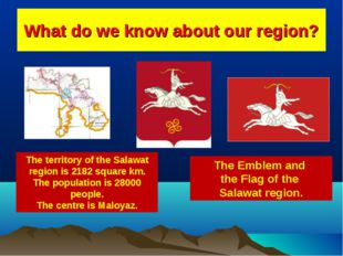 What do we know about our region? The territory of the Salawat region is 2182