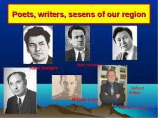 Poets, writers, sesens of our region Rami Garipov Naki Isanbet Mikhail Chvan