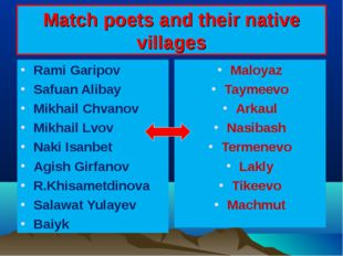 Match poets and their native villages Rami Garipov Safuan Alibay Mikhail Chva
