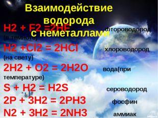 H2 + F2 =2HF фтороводород (в темноте) H2 +Cl2 = 2HCl хлороводород (на свету)