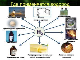 Водород Деревянова Е.В. – учитель химии МБОУ Мучкапсой сош Где применяется во