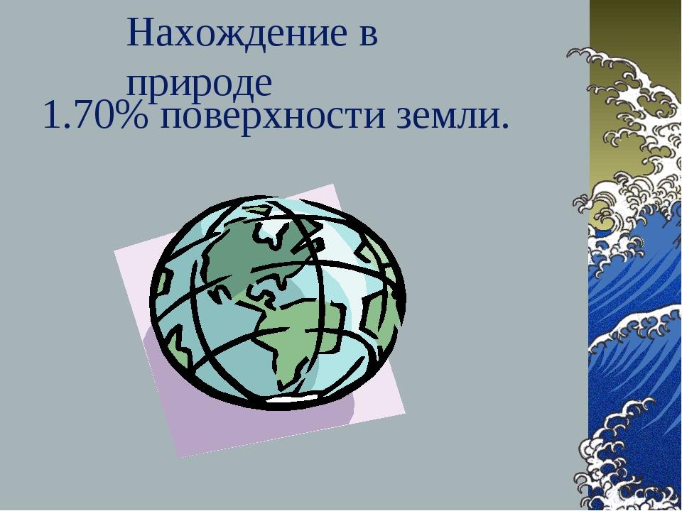 1.70% поверхности земли. Нахождение в природе
