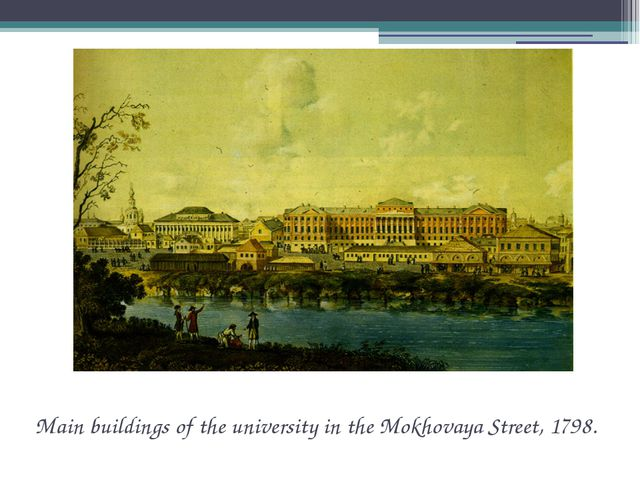 Main buildings of the university in the Mokhovaya Street, 1798.