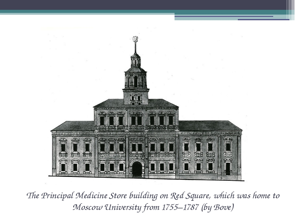 The Principal Medicine Store building on Red Square, which was home to Moscow...