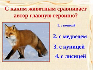 С каким животным сравнивает автор главную героиню? 1. с кошкой 2. с медведем