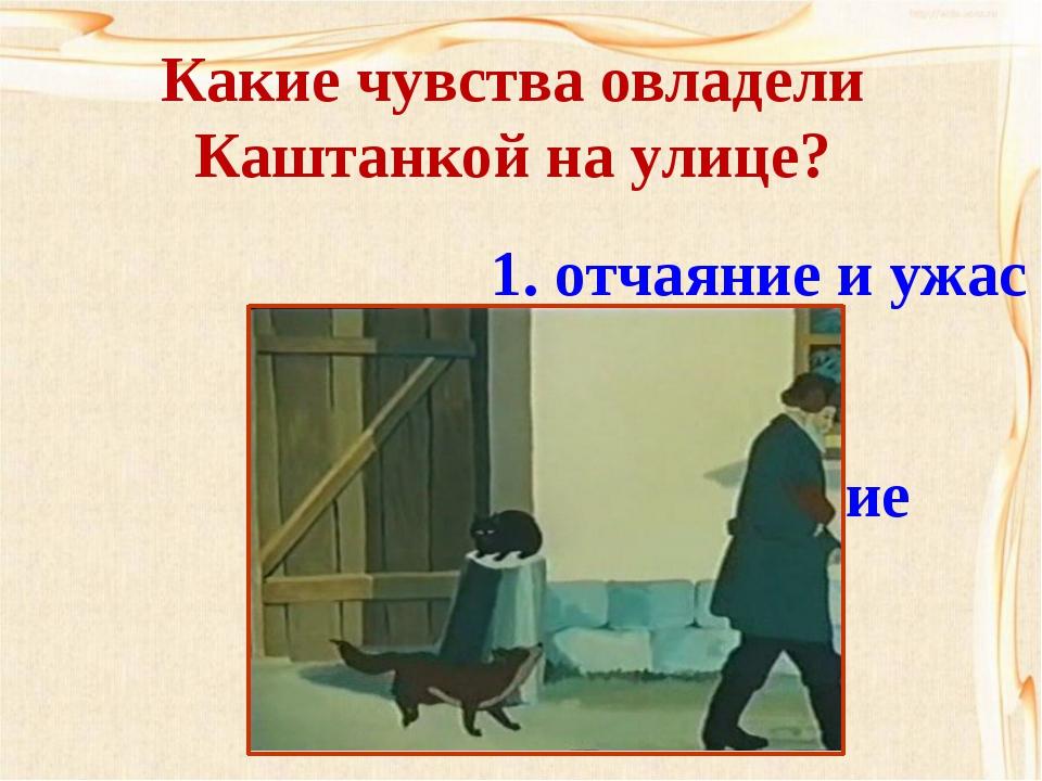 Какие чувства овладели Каштанкой на улице? 1. отчаяние и ужас  2. уныние  3...