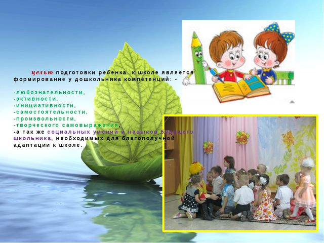 целью подготовки ребенка к школе является формирование у дошкольника компете...