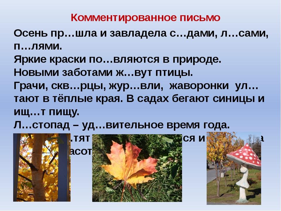 Комментированное письмо Осень пр…шла и завладела с…дами, л…сами, п…лями. Ярки...