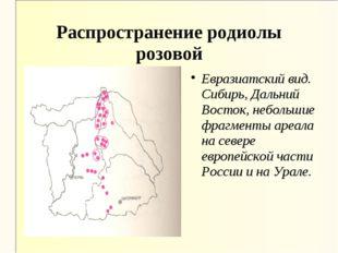 Распространение родиолы розовой Евразиатский вид. Сибирь, Дальний Восток, неб