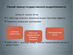 Ранний период государственной раздробленности Конец XI- начало XII вв С 1093