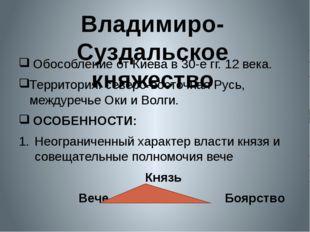 Обособление от Киева в 30-е гг. 12 века. Территория: северо-восточная Русь,