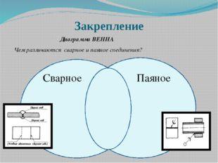 Закрепление Диаграмма ВЕННА Чем различаются сварное и паяное соединения? Свар