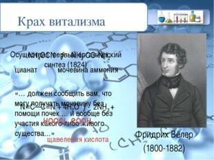Фридрих Вёлер (1800-1882) «… должен сообщить вам, что могу получать мочевину