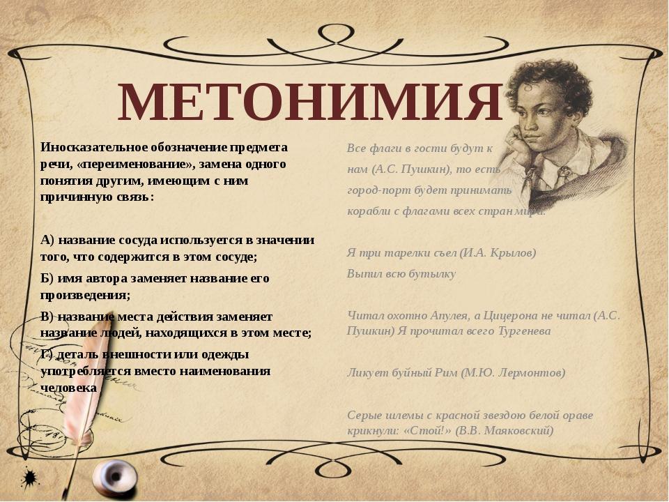 МЕТОНИМИЯ Иносказательное обозначение предмета речи, «переименование», замена...