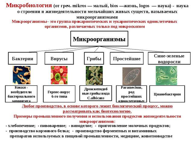 Микробиология (от греч. mikros — малый, bios —жизнь, logos — наука) - наука о...