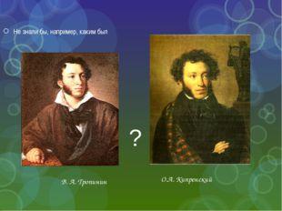Не знали бы, например, каким был В. А. Тропинин О.А. Кипренский ?