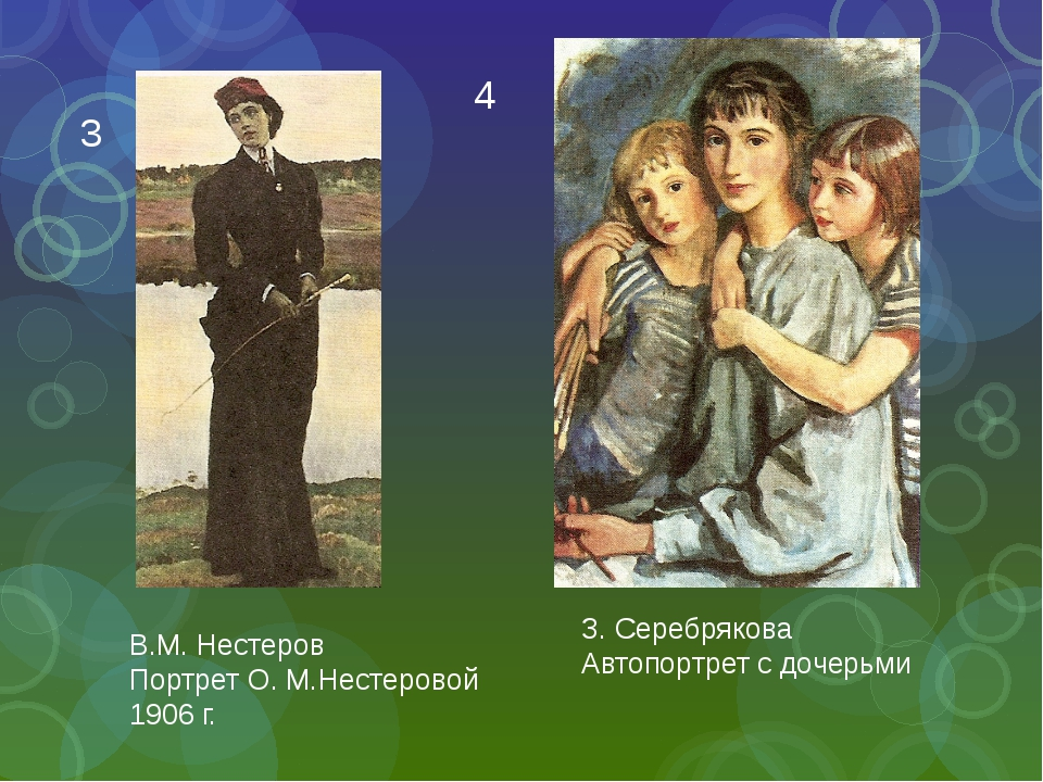 З. Серебрякова Автопортрет с дочерьми В.М. Нестеров Портрет О. М.Нестеровой 1...