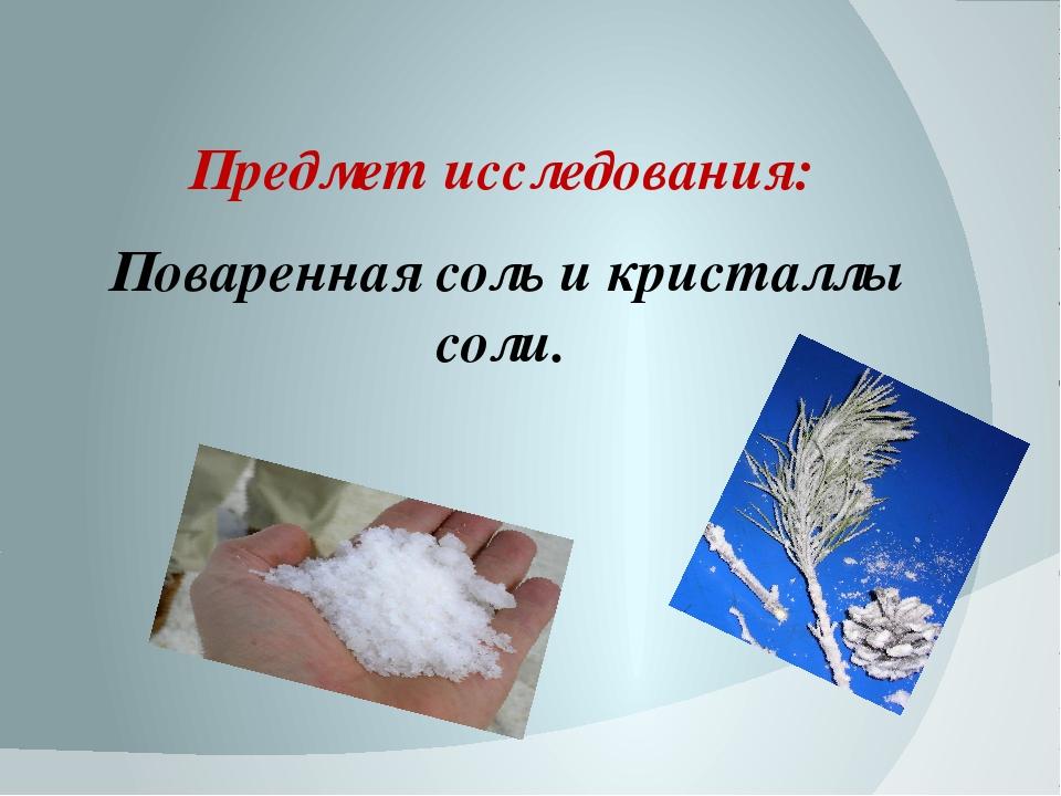 Предмет исследования: Поваренная соль и кристаллы соли.