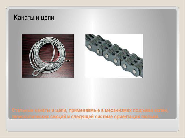 Стальные канаты и цепи, применяемые в механизмах подъема колен, телескопическ...
