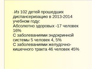 - Из 102 детей прошедших диспансеризацию в 2013-2014 учебном году: Абсолютно