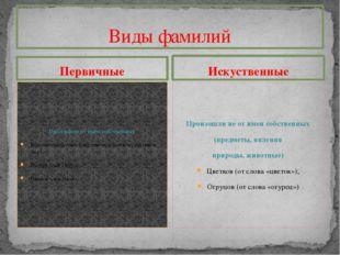 Первичные Произошли от имен собственных Константинов (сын Константина, или ко