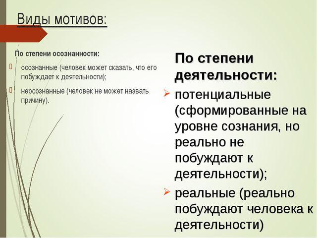 Виды мотивов: По степени осознанности: осознанные (человек может сказать, что...