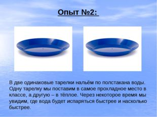 Опыт №2: В две одинаковые тарелки нальём по полстакана воды. Одну тарелку мы