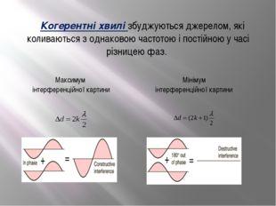 Когерентні хвилі збуджуються джерелом, які коливаються з однаковою частотою