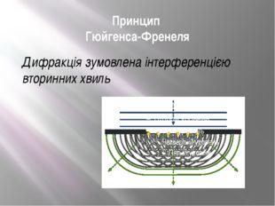 Принцип Гюйгенса-Френеля Дифракція зумовлена інтерференцією вторинних хвиль